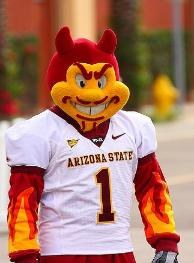 Arizona State's mascot, Sparky, delivers a devilish smile
