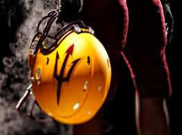 The Sun Devils New Look A new logo and design Sparky now takes a back seat to a pitch fork on the Sun Devils new helmet design