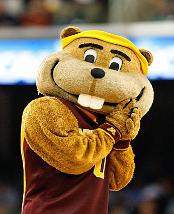 "Mascot: Goldy Gopher The University is represented by what has to be the friendliest gopher in the USA. ""Goldy"" Gopher is also the biggest gopher in the ""Land of 10 thousand lakes"" since he is actually a human dressed in a gopher costume. Youngsters love the cuddly looking mascot who makes appearances throughout the state. Goldy can always be counted on for digging up fun at Gopher football games."