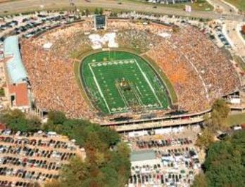 Mizzou's Farout Field The stone M is this stadium's top landmark in the stadium that built in 1926. The Tigers venue has a capacity of 71,004, although that limit has been exceeded several times.