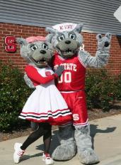 NCSU Mascots Mr. and Ms. Wuf These two costumed mascots lead the cheering charge on football Saturdays. The pair began cheering for the Red and White in the early 1970's.