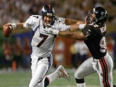 Falcons Shot Down Despite bringing a dominating defense and Pro Bowl RB Jamal Anderson to Super Bowl XXXIII at the end of the 1998 season, Atlanta was no match for John Elway's Denver Broncos who won 34-19.