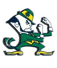 Fighting Irish Logo This University symbol features the Leprechaun with his fists up and ready to battle any foe that he faces. The Leprechaun became ND's official mascot in 1965. While the nickname is known and respected across the USA and beyond, the team's sports teams have taken the field with other names.