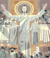 Touchdown Jesus Overlooking Notre Dame Stadium is a mural of Jesus Christ on the Hesburgh Memorial Library. While be careful to avoid sacrilege, Notre Dame fans can't help observing that the mural certainly makes Jesus appear to be a football fan. The artistic depiction features Jesus with his arms extended upwards as if he was signaling a touchdown.
