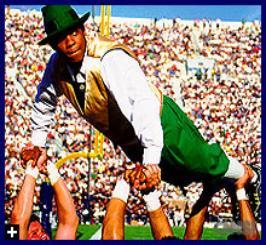 Notre Dame's Leprechaun does push-ups Irish style.