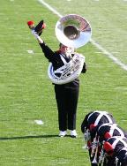 "Proud Ohio State Tuba player salutes the Buckeye faithful after dotting the ""i"""