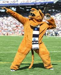 PSU's Mascot The Lion Much like these feared cats once prowled Pennsylvania, a costumed lion prowls the sidelines on football Saturdays. The tradition of a costumed mascot at the school dates back to 1921.