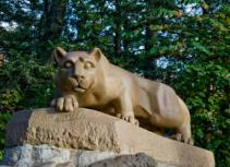 The Nittany Lion Shrine This popular landmark was dedicated during homecoming festivities in 1942. Made of Indiana Limestone, this 13-ton sculpture sits near the University's Recreation Building.