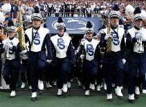 The Blue Band The Penn State Marching Band traces its origins back to 1899 and has been thrilling fans ever since with its award winning performances. Some of the songs played by the PSU band on game day is, The Nittany Lion, Fight On, State, Victory and the Penn State Alma Mater. Win or lose, you the Blue Band delivers a stirring performance after each home game on the northwest corner of the field.