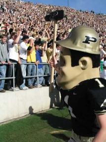 "Purdue University Mascot Purdue Pete dons his Football Gear on Gameday Saturdays. This lovable mascot gained ""official"" status in 1956."