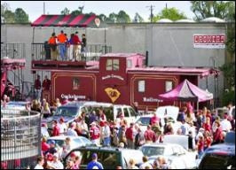 Partying on the Cockaboose South Carolina fans have the great tradition of tailgating on a collection of cabooses that sit just 50 yards from the main entrance of Williams-Brice Stadium. The tradition of tailgating in these decked out Cockabooses began in 1990.